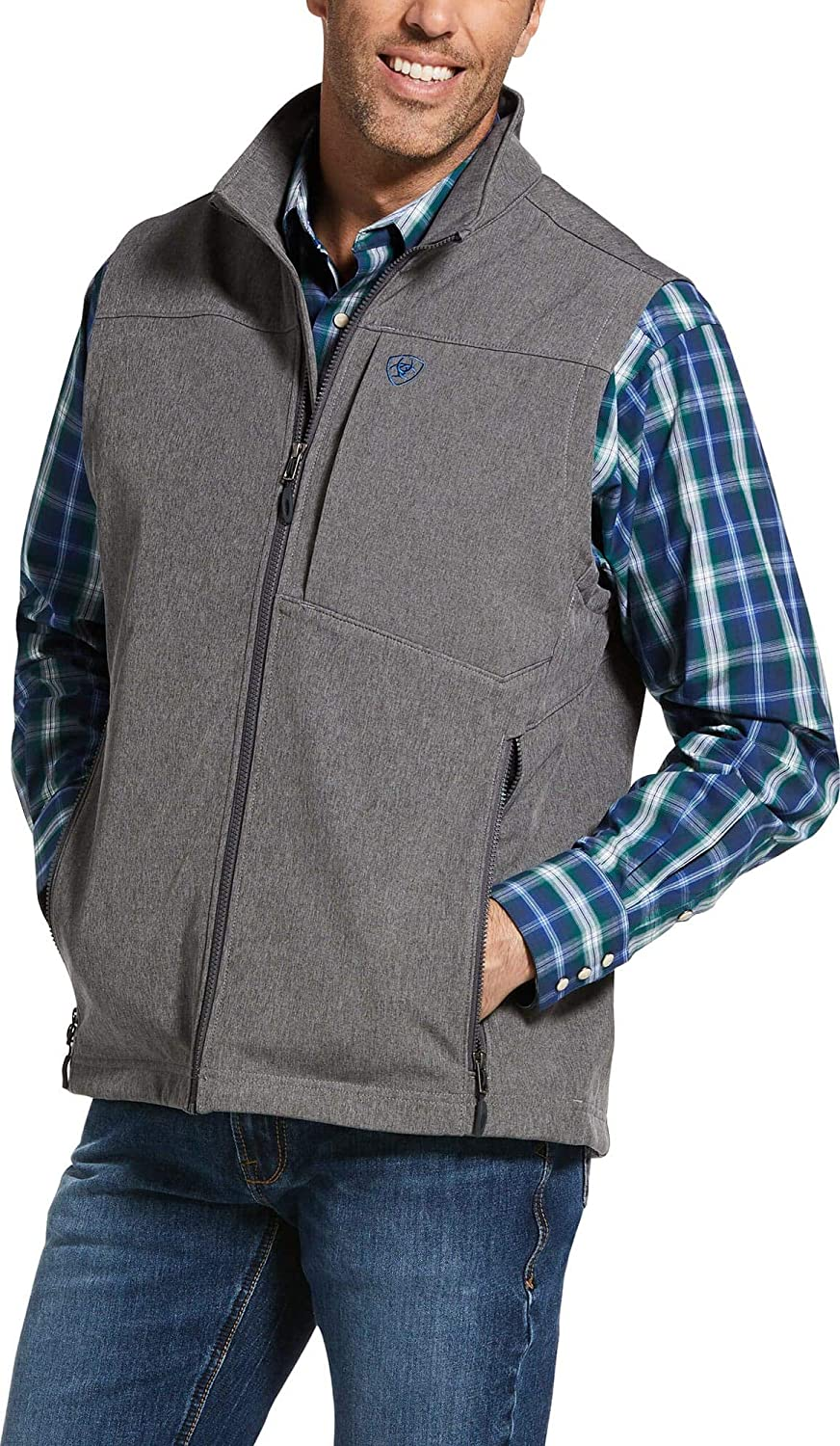 ARIAT Men's Charcoal Logo 2.0 Softshell Vest Charcoal Small