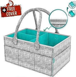 Bayb Baby Diaper Caddy Organizer with Cover - Newborn Shower Gift Basket for Mom Dad Bonus - Nursery Diaper Caddy Storage Bin - Portable Car Travel Organizer - Newborn Registry Must Have