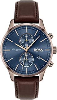 Hugo Boss Black Men'S Blue Dial Brown Leather Watch - 1513804