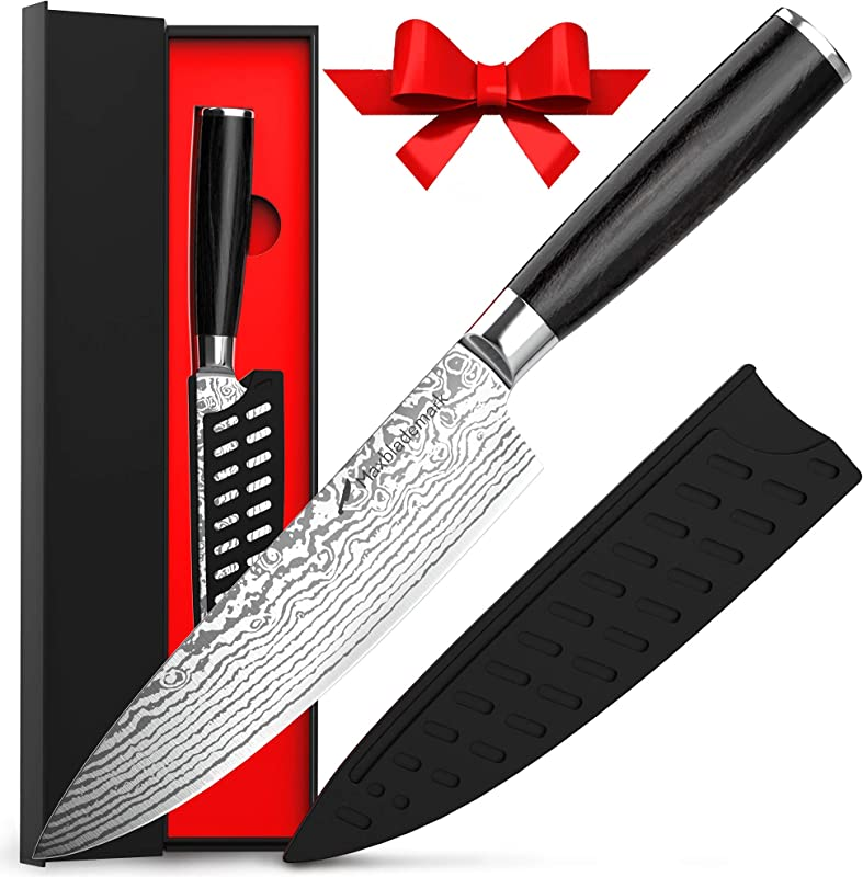 Chef Knife Maxblademark Pro Kitchen Knife 8 Inch Chef S Knives German High Carbon Stainless Steel Knife With Damascus Pattern Ergonomic Handle Ultra Sharp Knife Sheath And Stylish Package