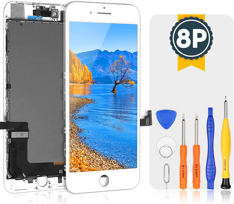 bokman LCD Pantalla para iPhone 8 Plus, Táctil LCD Reemplazo con Herramientas de Reparación(Blanco)