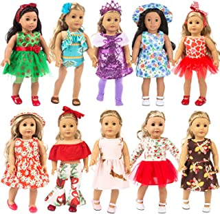 ZITA ELEMENT 22 Pcs Girl Doll Clothes Dress for American 18 Inch Doll Clothes and Accessories - Including 10 Complete Set ...