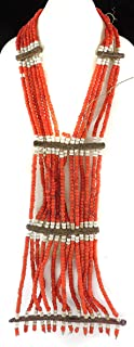6 Strands Maasai Beaded Necklace Red Kenya Old 21 Inch Africa