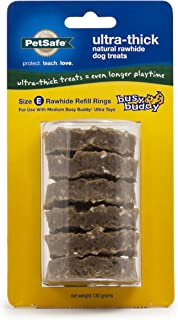 PetSafe Busy Buddy Ultra-Thick Natural Rawhide Dog Treat Refill Rings, Replacement Treats for PetSafe Busy Buddy Ultra Treat Ring Holding Toys