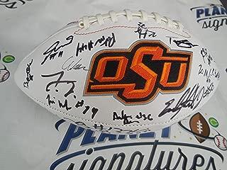 2018 Oklahoma OK State OSU Cowboys team signed logo football Justice Hill COA