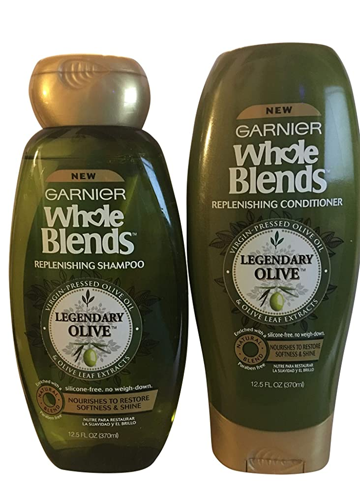 Garnier Whole Blends Legendary Olive Replenishing Shampoo and Conditioner Set 12.5 oz