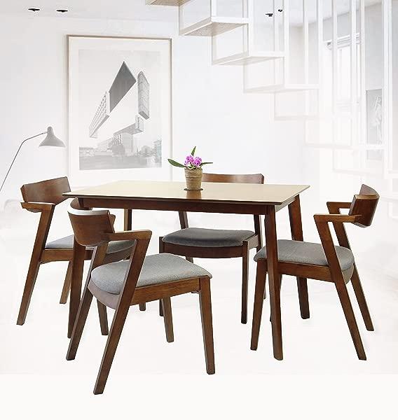 藤编柳条家具一套 5 个餐厅厨房长方形桌子和 4 个 Tracy 扶手椅实木 W 软垫座椅中等棕色完成