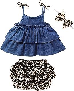 GRNSHTS Baby Girls Cowboy Skirt Set Blue Jean Shirt + Leopard Skirt + Headband