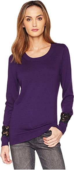 Velvet Lace Scoop Neck Top