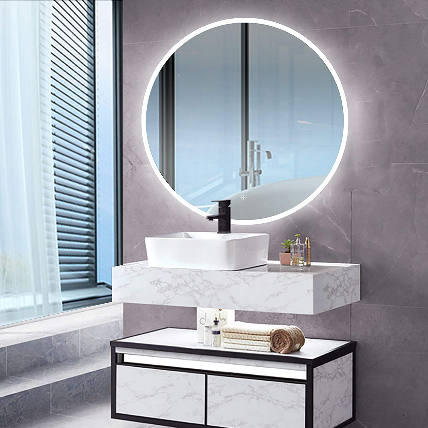Amazon Com Led Backlit Illuminated Mirror 36 Wall Mounted For Bathroom Makeup Hardwired And Easy To Install Bright White Light 20w Behind Rectangular Inset Frosted Glass For Flattering Glow Furniture Decor