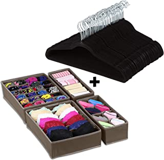 Velvet Hangers, 50 Pack, w/Drawer Closet Organizer Divider Set of 4, Durable & Flexible Non Slip Suit Hanger with 360 Swivel Hook | Black