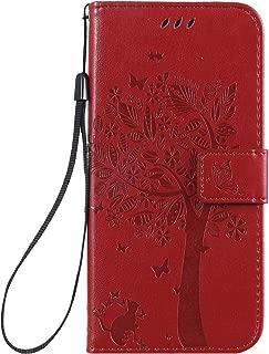 NEXCURIO LG K40 /LG K12+ (K12 Plus) /LG X4 (2019) Wallet Case with Card Holder Folding Kickstand Magnetic Leather Case Shockproof Flip Cover for LG K40/K12+ (K12Plus) - NEKTU080402 Red