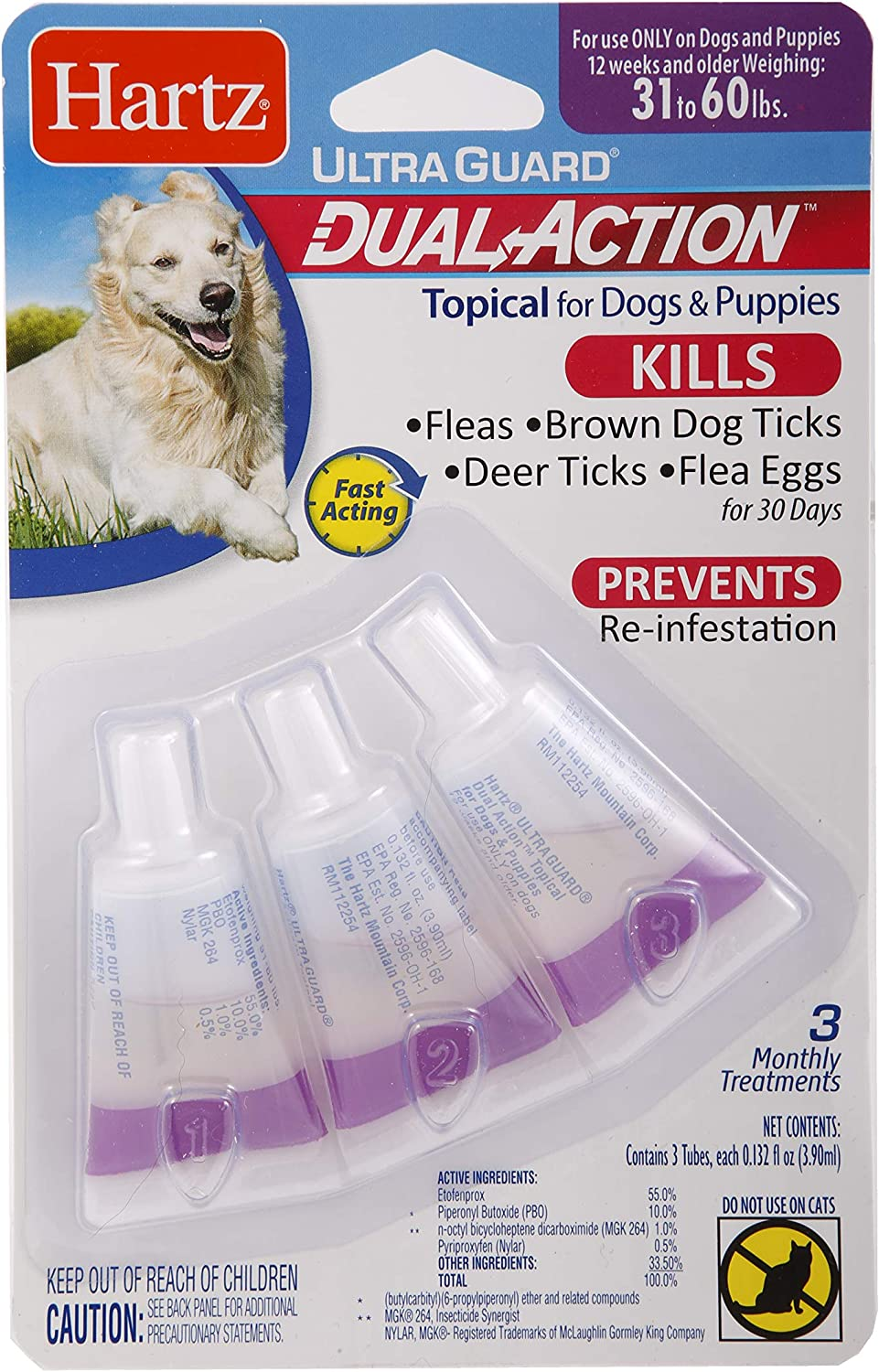 Hartz UltraGuard Dual Action Topical Flea & Tick Treatment for Dogs and Puppies - 31-60lbs, 3 Monthly Treatments