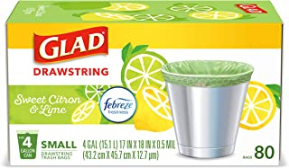 Glad® Small Kitchen Drawstring Trash Bags – 4 Gallon Green Trash Bag, Febreze Sweet Citron & Lime, 80 Count (Package May Vary)