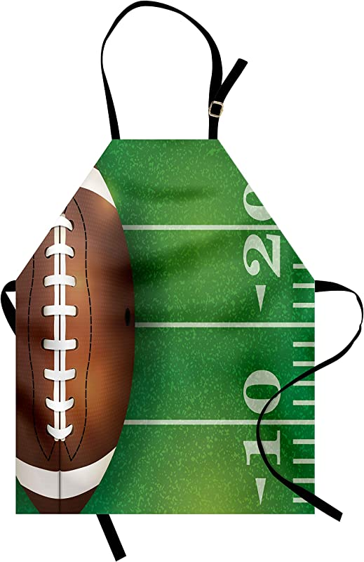 Lunarable Sports Apron American Football Field And Ball Realistic Vivid Illustration College Unisex Kitchen Bib With Adjustable Neck For Cooking Gardening Adult Size Green Brown And White