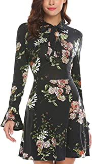 ACEVOG Women's Casual Floral Print Bell Sleeve Fit and Flare Dress