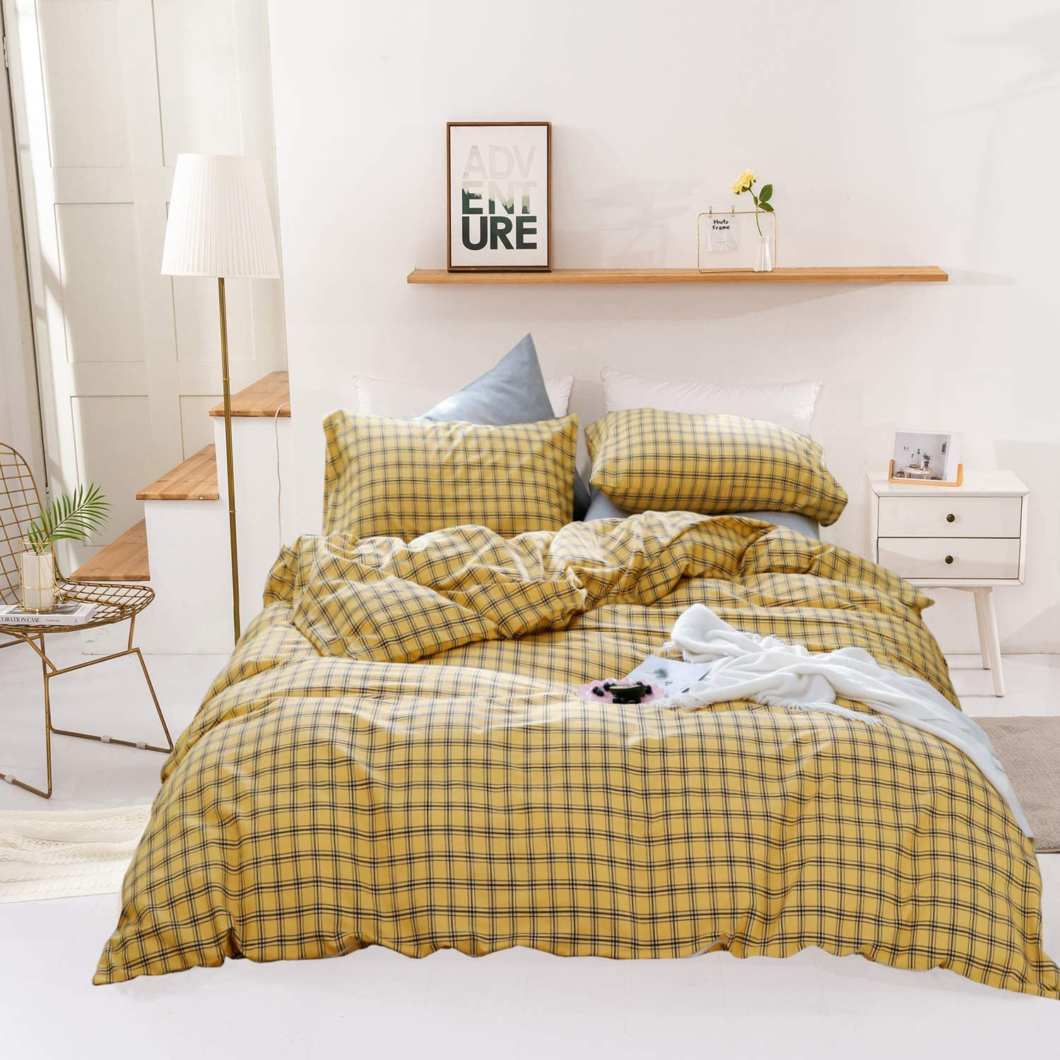 Wellboo All items free shipping trend rank Yellow Plaid Duvet Cover Set Buffalo Bedding