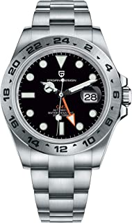 Pagani Design GMT Reloj Automático para Hombres Correa de Acero Inoxidable Calendario Luminoso Negocio Reloj de Buceo Casu...
