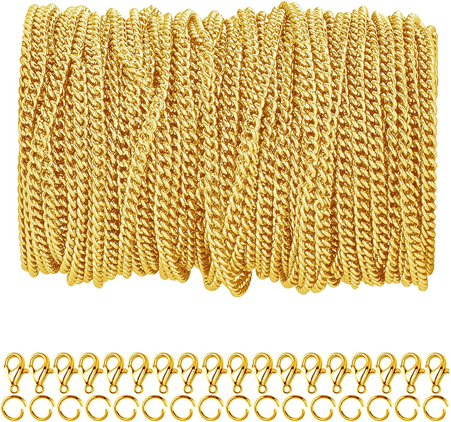 33 Store Feet Gold Plated Brass Curb Link and Rings with Jump Very popular! Chain 50