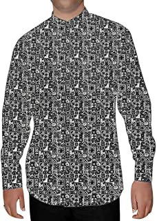 INMONARCH Mens Gray Printed Nehru Collar Cotton Shirts NSH15262