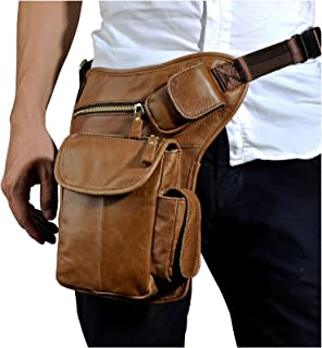 Le'aokuu Mens Genuine Leather Motorcycle Hiking Waist Hip Bum Pack Drop Leg Bag Pouch