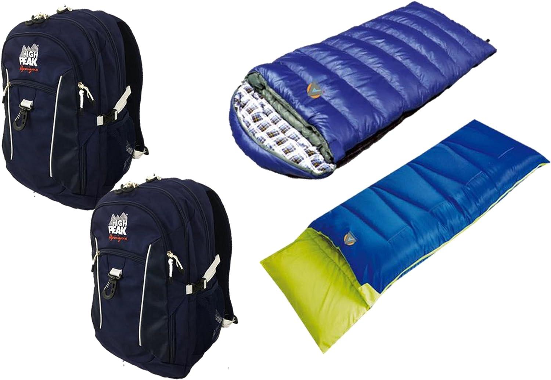 High Peak USA Alpinizmo 2 Vector 38 Backpacks + Pilot 0 & Kodiak 20 Sleeping Bags Combo, blueee, One Size