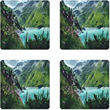 Ambesonne Landscape Coaster Set of 4, Photo of Majestic Mountain Lake Switzerland Spring in Nature Alps Europe Outdoor, Square Hardboard Gloss Coasters, Standard Size, Multicolor