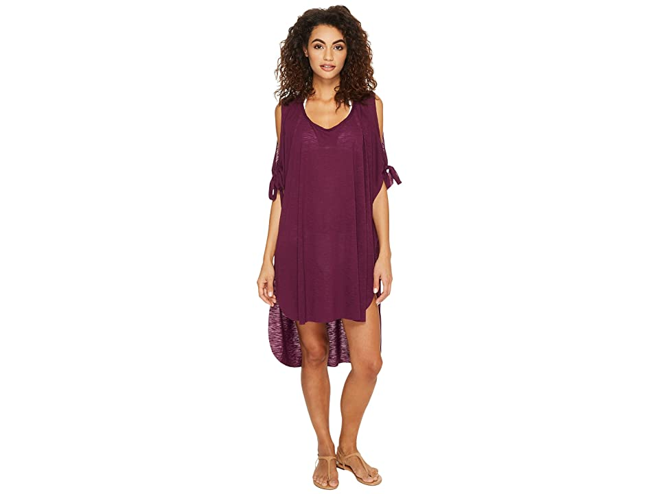BECCA by Rebecca Virtue Breezy Basics Cold Shoulder Poncho Cover-Up (Raisin) Women