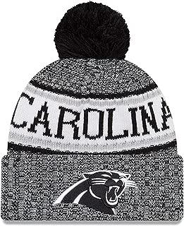 New Era Knit Carolina Panthers Black On Field Sideline Winter Stocking Beanie Pom Hat Cap 2015