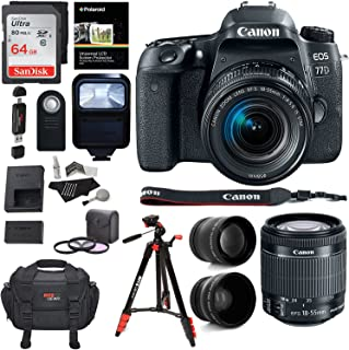 Canon EOS 77D Camera, EF-S 18-55 is STM Lens, Sandisk 64GB Memory, Ritz Gear Premium SLR Camera Bag, Filter Kit, Flash and Accessory Bundle