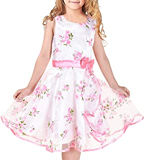 Sunny Fashion Vestido para niña 3 Capas Rosa Flor Ola Pageant Boda Ropa de niños 4-12 años