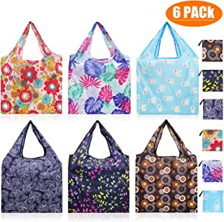 Reusable Grocery Shopping Bags, HAOPINSH Reusable Shopping Bags Foldable into Purse Shape Large 50LBS Light Durable Machine Washable for Shopping Trip 6 Packs