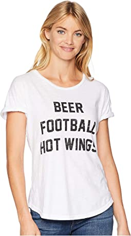 Beer Football & Hotwings Rolled Short Sleeve Slub Crew Neck
