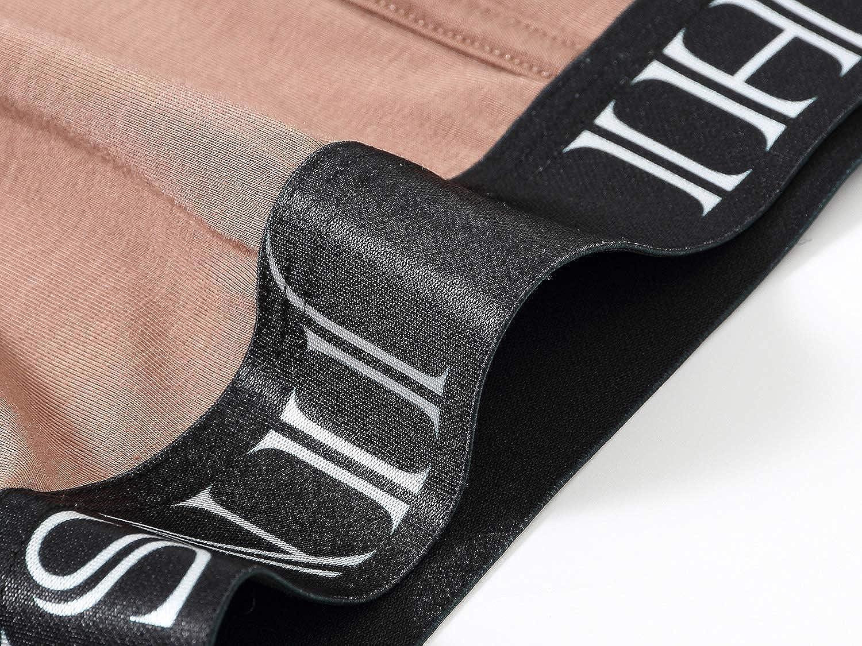 JINSHI Men's Boxer Briefs Comfortable Underwear Bamboo Long Leg Boxer Briefs Strtech Boxers 3-Pack