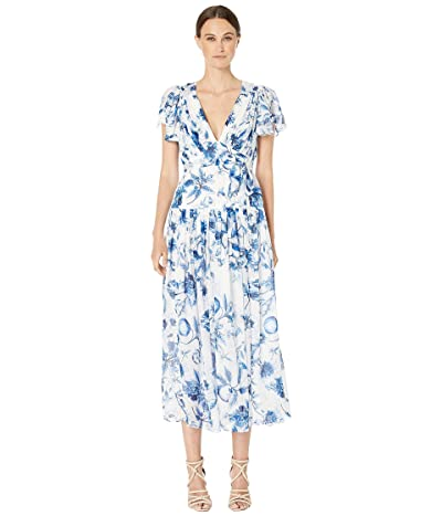 ML Monique Lhuillier Pleated Midi Dress (Blue Multi) Women