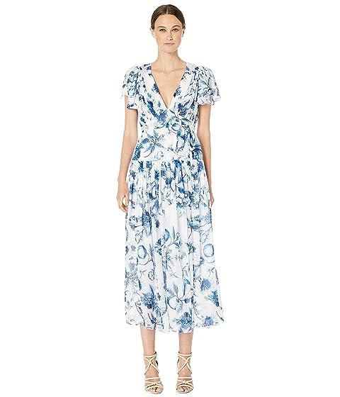 ML Monique Lhuillier Pleated Midi Dress