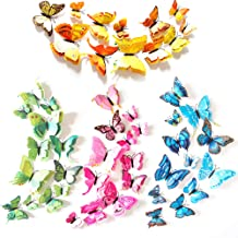 XUBX 48 stuks 3D Mode Vlinder Muursticker, Dubbele laag Simulatie Kleurrijke Vlinder Muurschildering Stickers met Zelfklev...