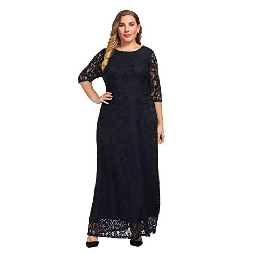 fd7574365af Chicwe Women s Plus Size Stretch Lace Maxi Dress - Evening Wedding Cocktail Party  Dress