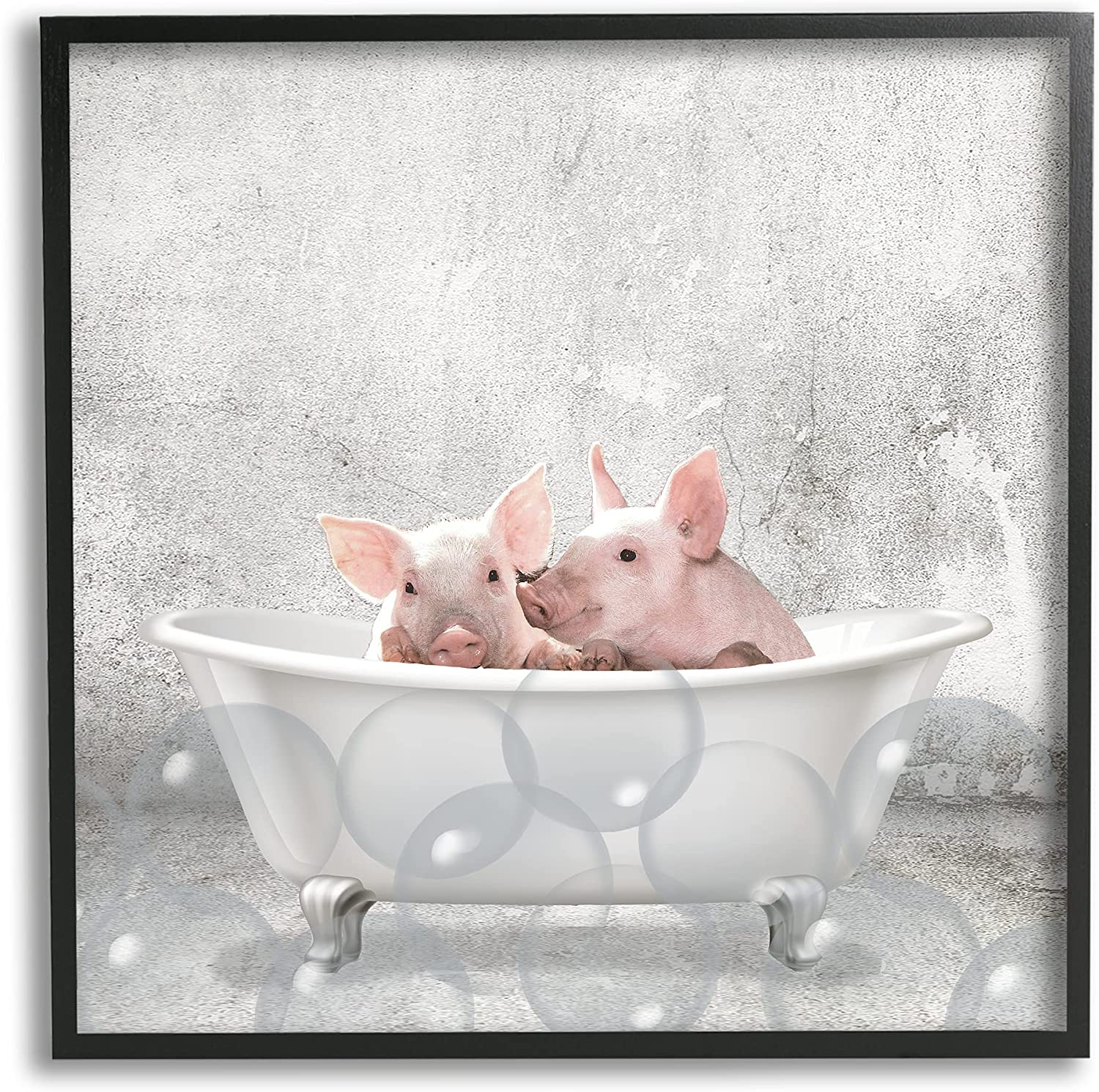 Grey 17 x 30 Stupell Industries Baby Piglets Bath Time Cute Animal Design by Kimberly Allen Black Framed Wall Art