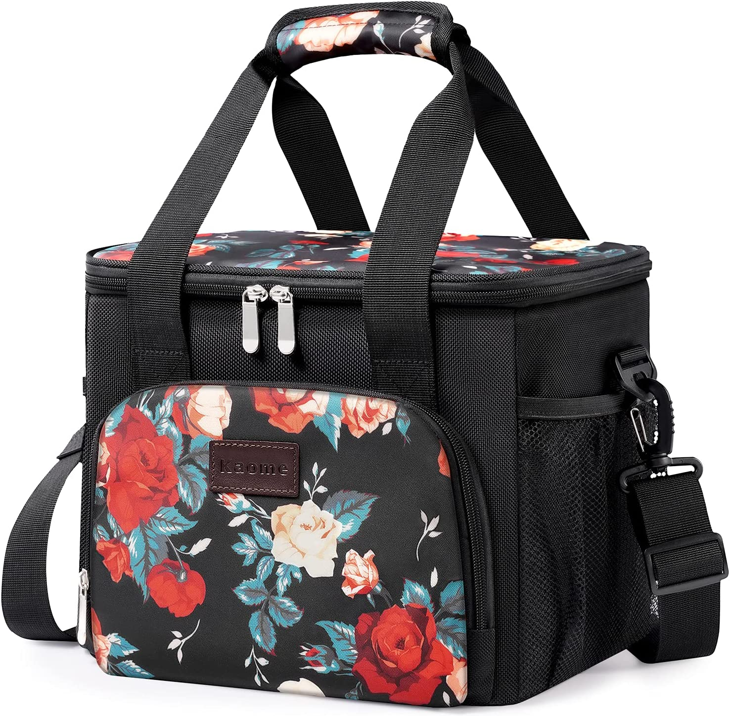 Large Lunch Bags for Women/Men 15L (24-Can), Kaome Insulated Lunch Box 100% Leakproof Cooler Bag for Office Work School Picnic Beach, with Adjustable Shoulder Strap-Floral