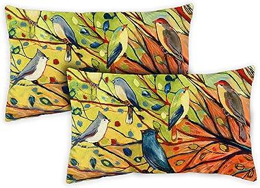 Toland Home Garden 731217 Tree Birds 12 x 19 Inch Indoor/Outdoor, Pillow with Insert (2-Pack)