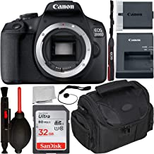 $299 Get Canon EOS 2000D DSLR Camera (Body Only) with Starter Accessory Bundle – Includes: SanDisk Ultra 32GB SDHC Memory Card + Camera Carrying Case + Body Cap Keeper + Cleaning Pen + Dust Blower + More