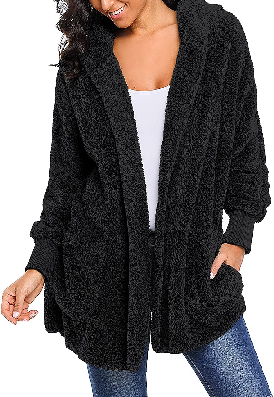 luvamia Women Fuzzy Fleece Open Front Hooded Cardigan Oversized Coat Faux Fur Jacket Long Sleeve with Pockets