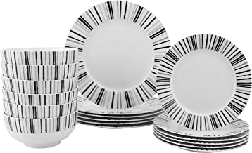 FIGULARK Black and White Dinnerware 18-Piece Set for 6, Stoneware Striped Lace Ceramics Dish and Bowl New Bone China for F...
