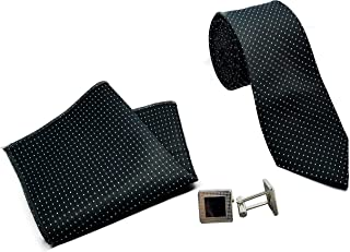 Luxeis Men Premium Neck Tie and Pocket Square with Cufflink Combo Gift Set (Black)