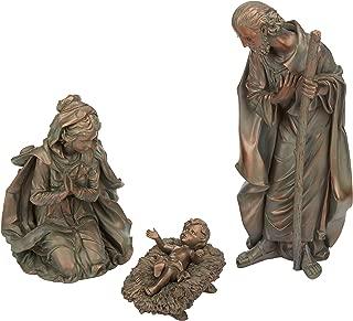 Evergreen 3-Piece Bronze Finish Mary, Joseph and Baby Jesus Outdoor Safe Garden Nativity Set