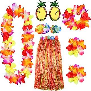Elcoho 8 Pieces Large Colorful Hawaiian Hula Grass Skirt Sungl Leis Necklace Bracelet Set (Colorful)
