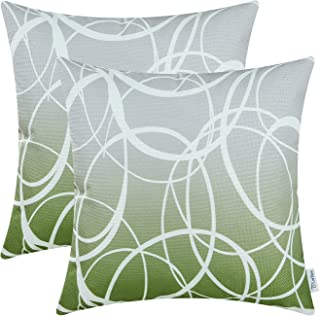 CaliTime Pack of 2 Soft Canvas Throw Pillow Covers Cases for Couch Sofa Home Decor Modern Gradient Ombre Circles Rings Both Sides 18 X 18 Inches Gray to Olive Green