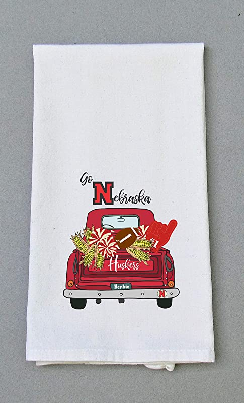 University Of Nebraska Football Print Kitchen Bath Hand Towel Cornhuskers Football Print Dish Towel Tailgating Decor