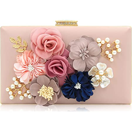 Milisente Damen Clutch Tasche Blumen Abendtasche Hochzeit Bag Elegante Handtasche (Rosa)